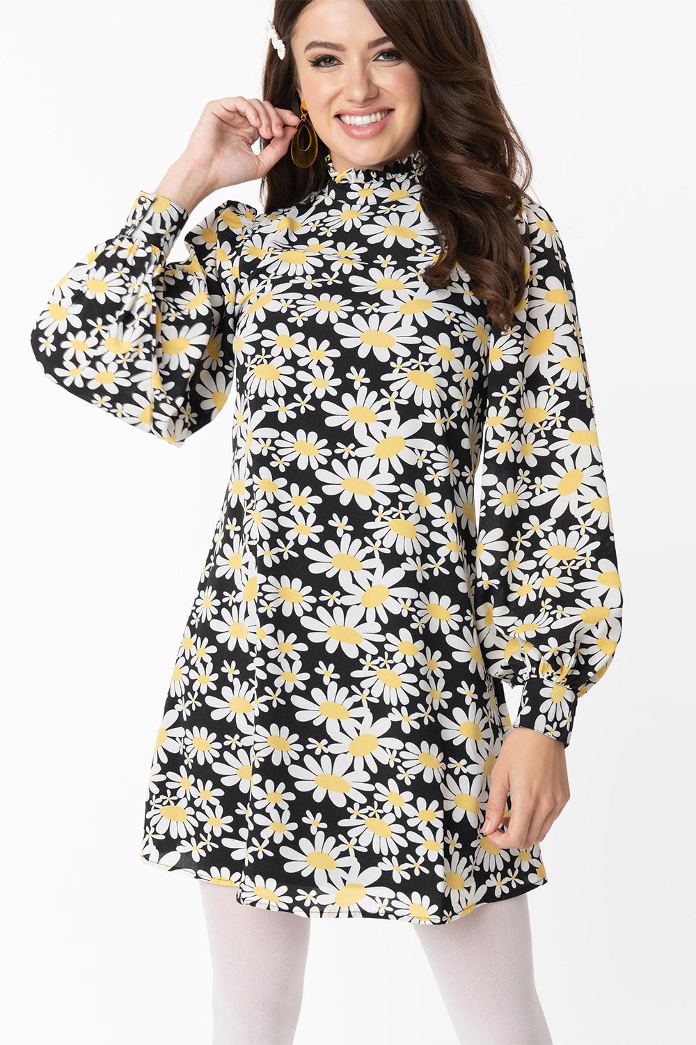 Black Daisy Print Girl Talk Long Sleeve Shift Dress by Smak Parlour