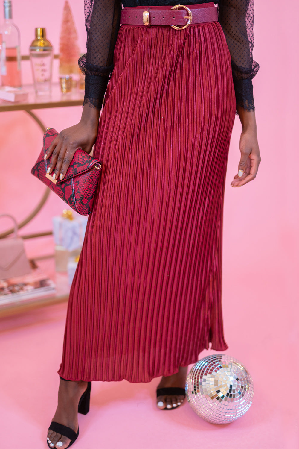 Yes Pleat! Wine Pleated High Waisted Maxi Skirt