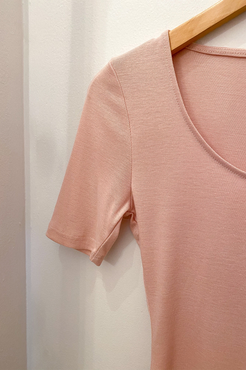 Back to Basics Pink Quarter Sleeve Scoopneck Bodysuit