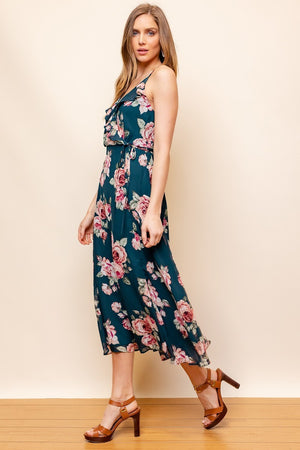 Growing Places Dark Green Floral Ruffle Midi Dress