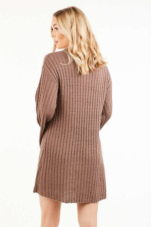 Mulberry Ribbed Long Sleeve Sweater Dress