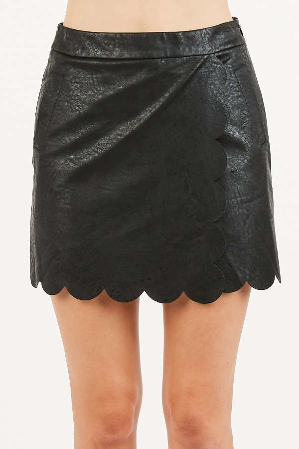 Back to Black Faux Leather Mini Skirt with Scalloped Hem