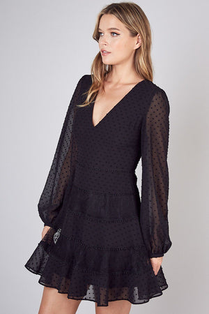 Black Sheer Long Sleeve Spotted & Lace Ruffle Dress