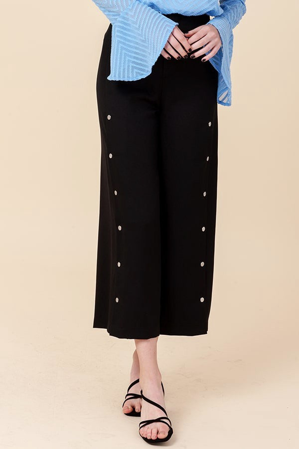 Black Cropped Pants with Side Button Detailing