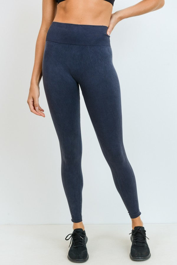 Charcoal Grey Ribbed High Waisted Leggings