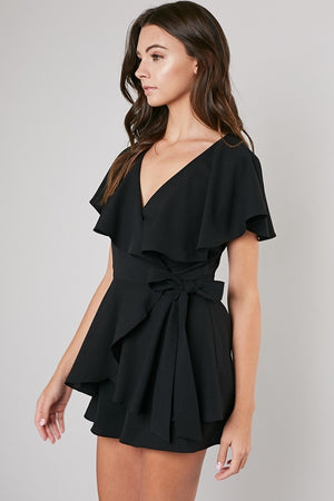 Wrap Me Up Black Capped Sleeve Romper with Open Back