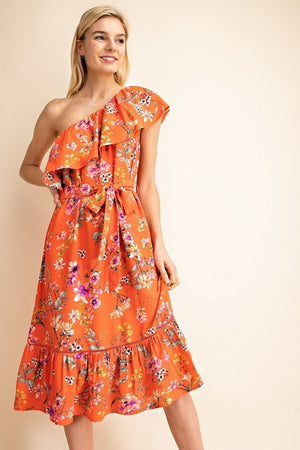 The Other Side Coral One Shoulder Ruffle Dress