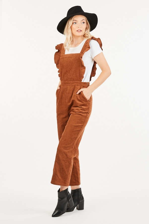 Give Me Frills Camel Corduroy Jumpsuit with Ruffle Sleeves