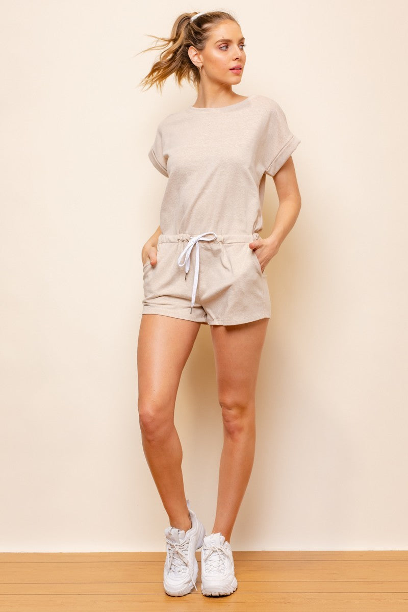 Let's Keep it Casual Taupe Short Sleeve Romper with Drawstring Waist