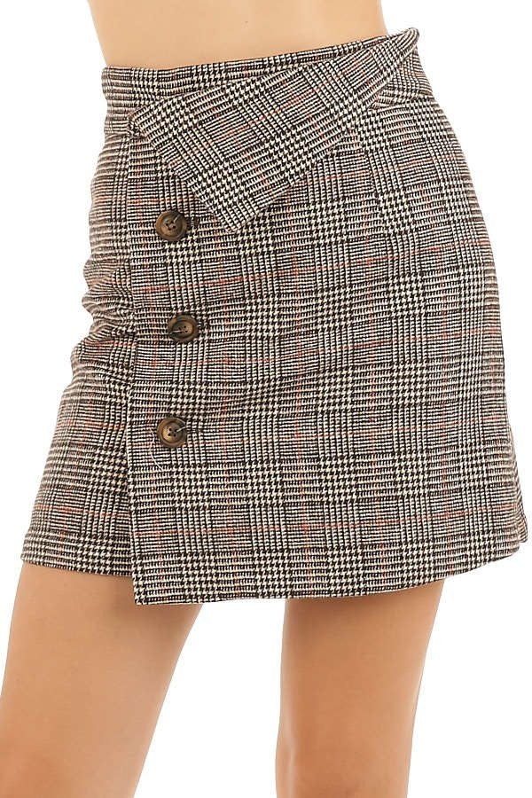 Brown Plaid Asymmetrical Waistband Mini Skirt with Buttons