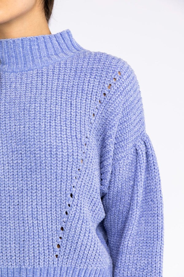 Always Be My Baby Blue Knit High Neck Sweater