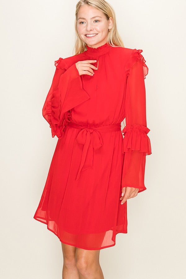 Paint The Town Red High Neck Long Ruffle Sleeve Dress