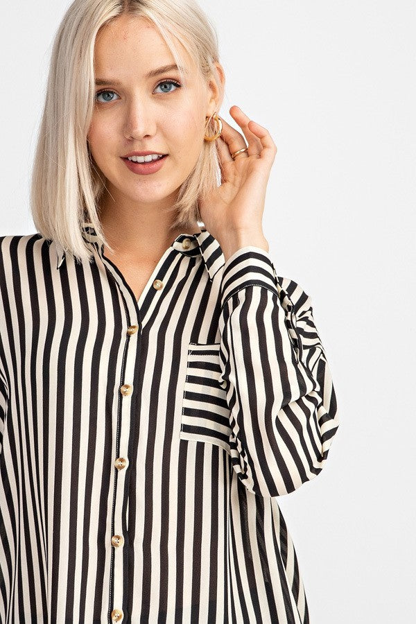 Stripe Me Down Long Sleeve Blouse