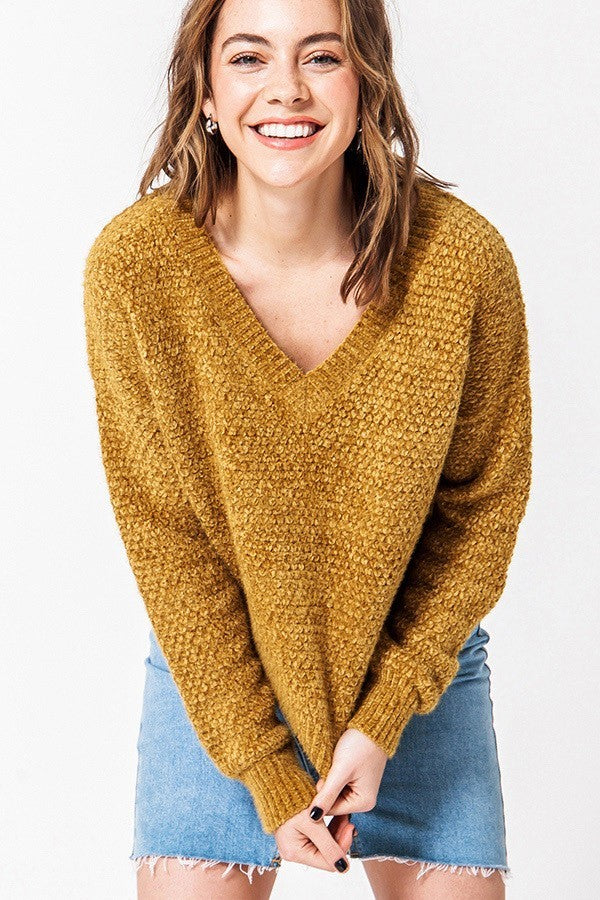 Mustard Chenille V Neck Cropped Sweater