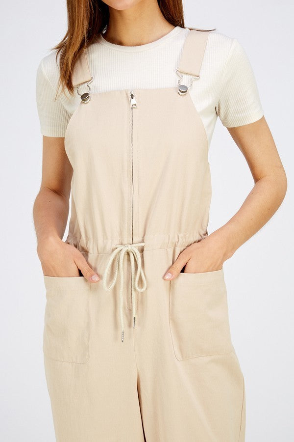 Over It Tan Overalls with Elastic Waist & Zipper Front