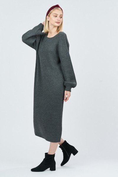 Grey Oversized Ribbed Sweater Dress with Deep V Back
