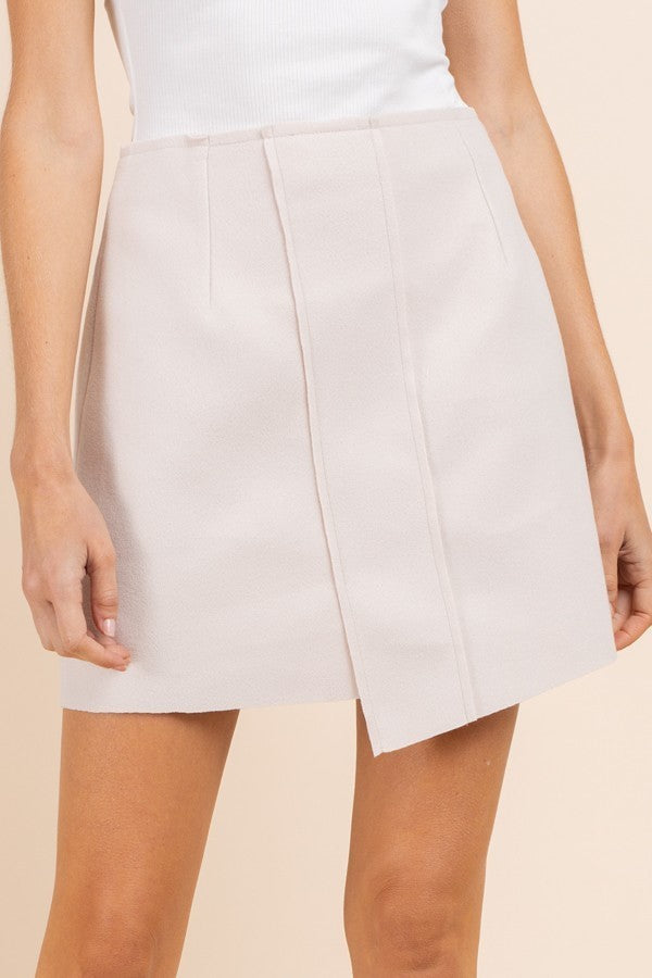 Meet in The Middle Cream Asymmetrical Envelope Skirt