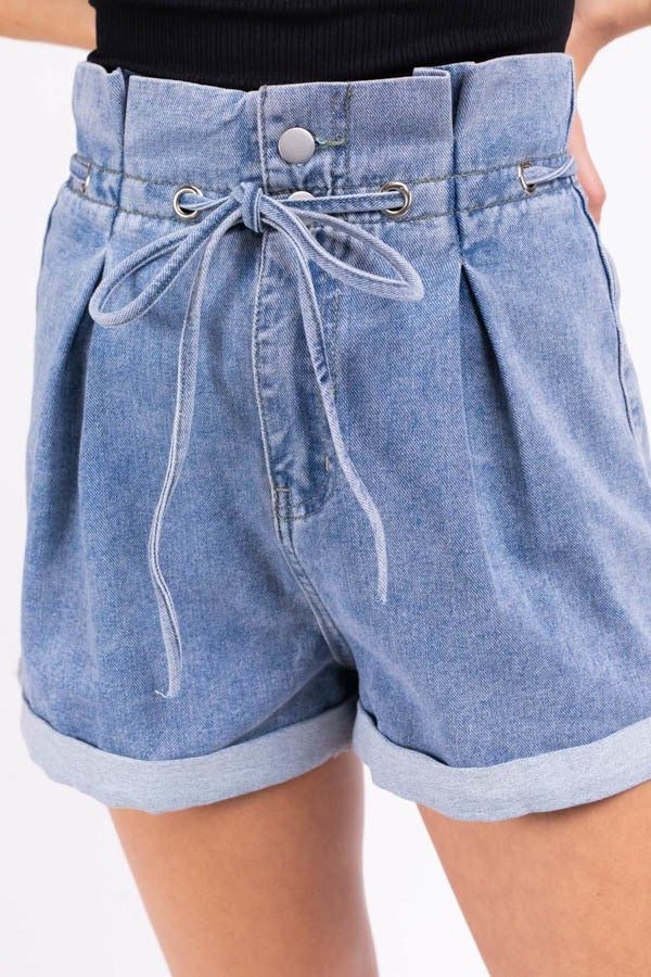 Light Wash Denim High Waisted Cuffed Shorts with Tie Belt