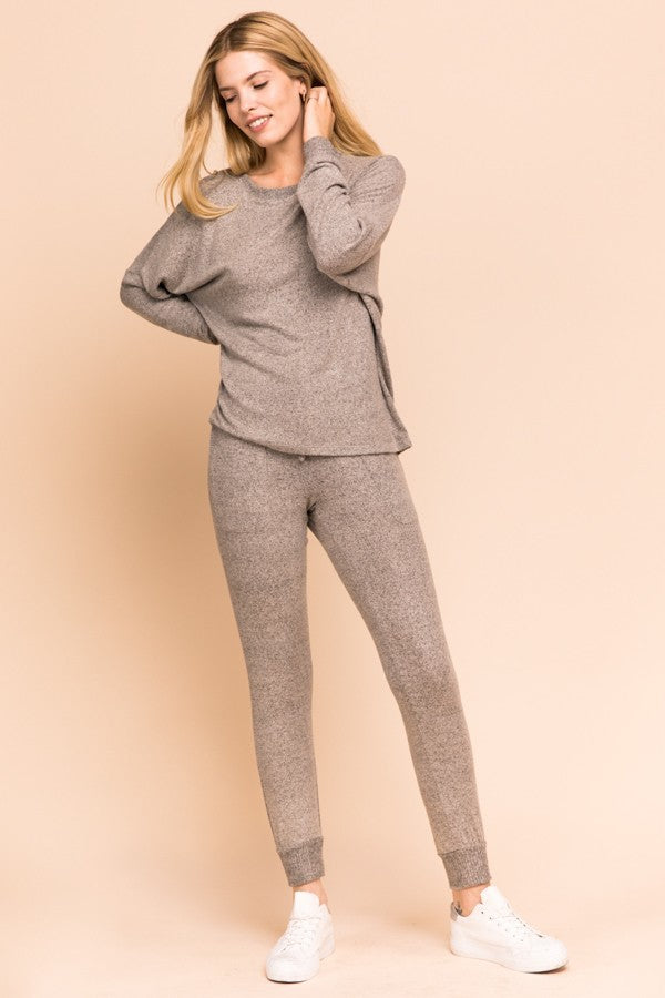 Slow Down Oatmeal Soft Jogger Pants with Drawstring Waist