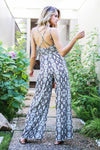 Snake It Happen Taupe Open Back Snakeskin Jumpsuit