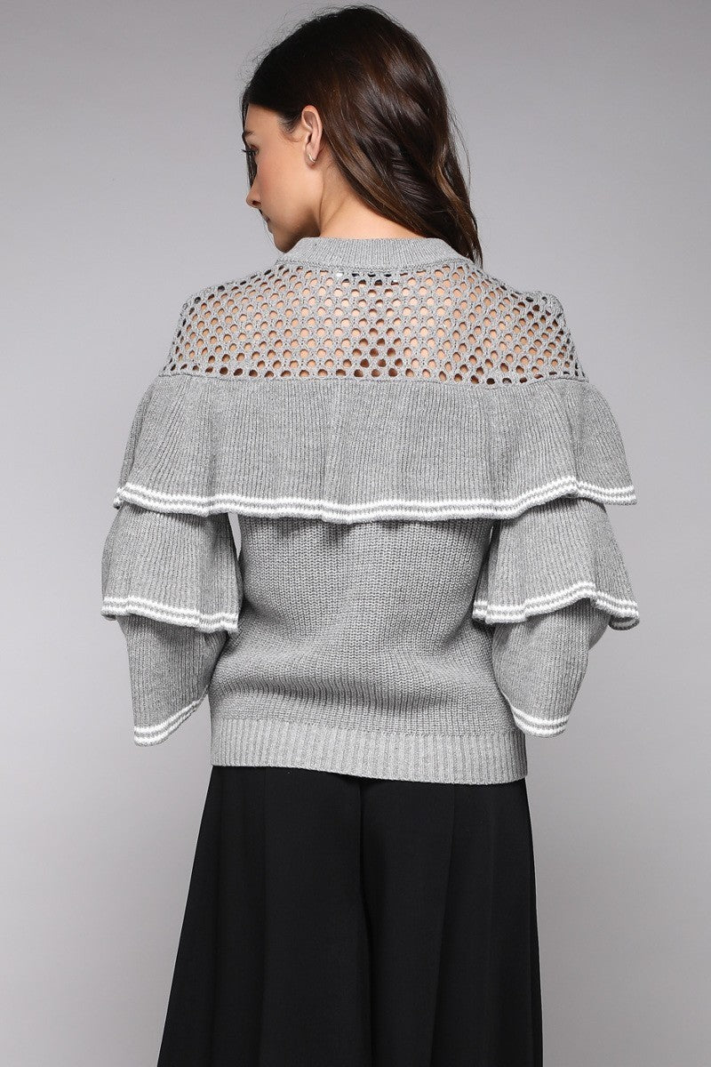 Grey Striped Ruffle Sweater with Hole Detailing