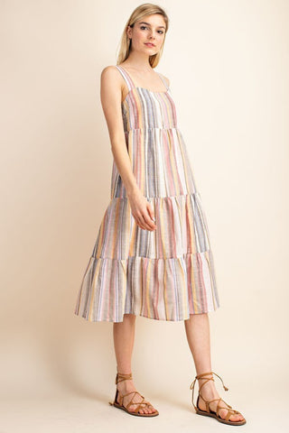 Bright Away White with Multicolor Stripes Square Neck Dress