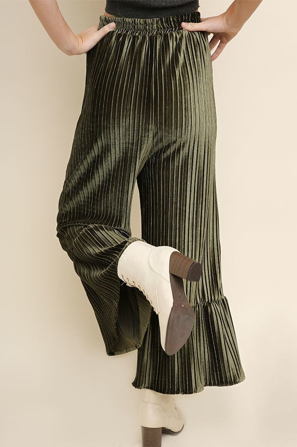 Just One Touch Velvet Olive Green High Waisted Flare Pants