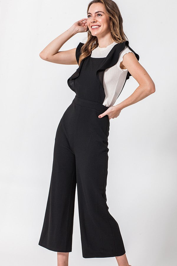 Black Ruffle Side Cut Out Jumpsuit