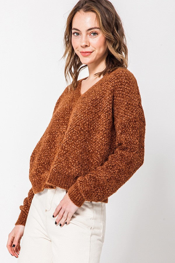 Brown Chenille V Neck Cropped Sweater