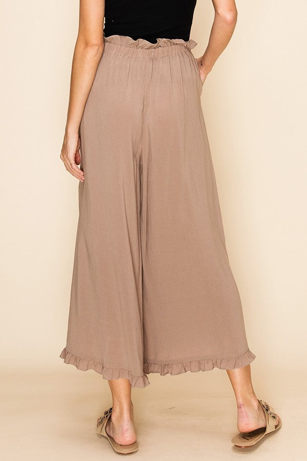 Khaki High Waisted Tie Pants with Ruffle Bottom