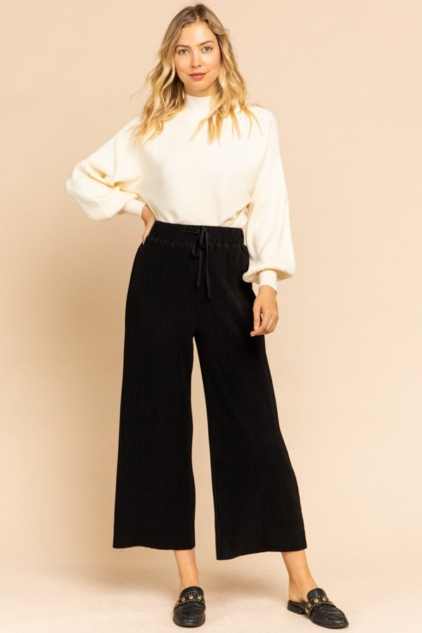 Girl Plisse Black Drawstring Wide Leg Pants