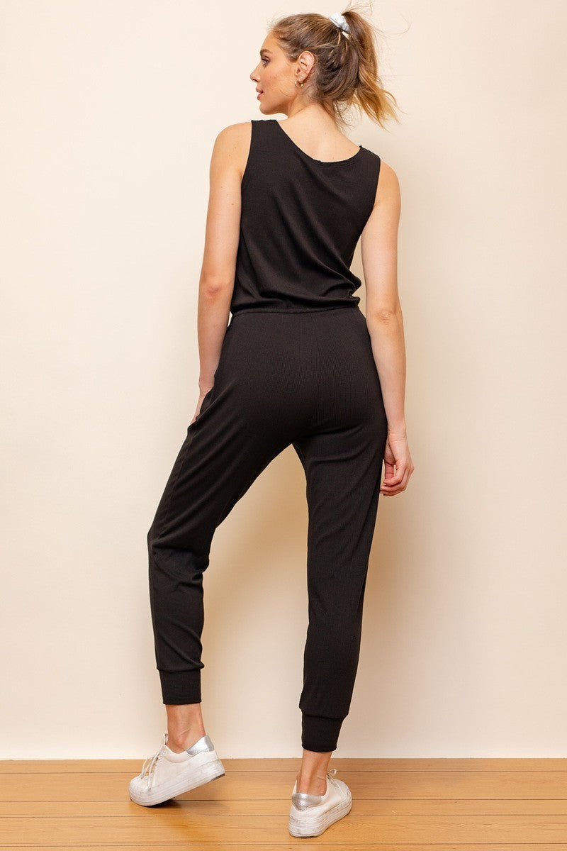 Chill Zone Black Sleeveless Lounge Jumpsuit with Drawstring Waist