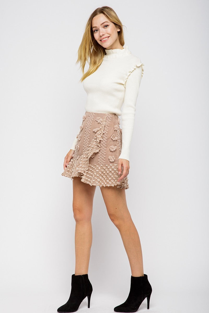 Ruffled & Ready Soft Pink A-line Faux Wrap Skirt with Ruffle Hem