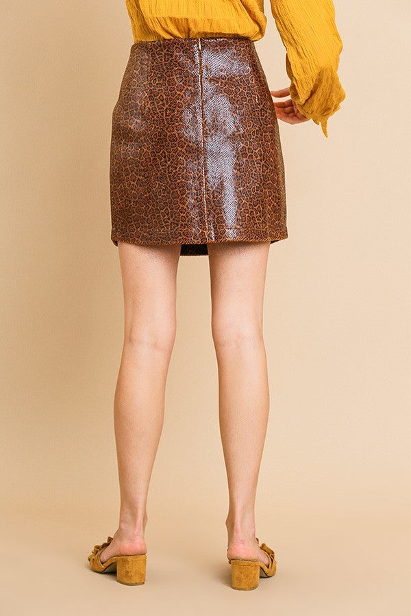 Dark Brown Cheetah Print Faux Leather Mini Skirt