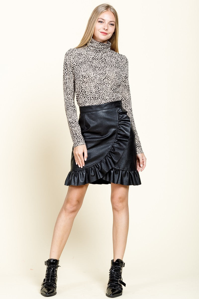For The Frill of It Black Leather Ruffle Skirt