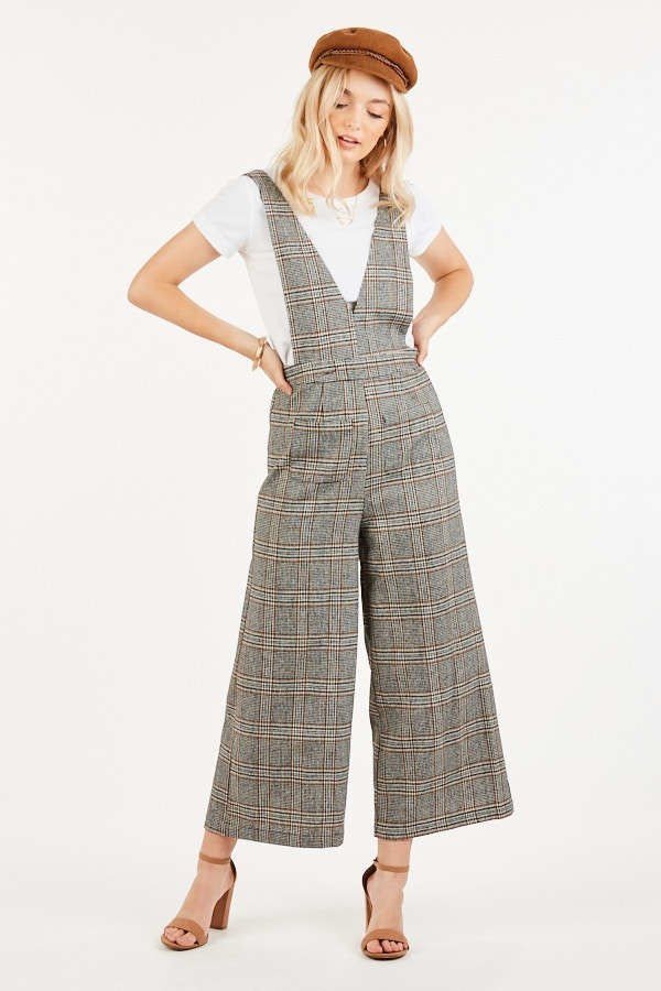 V Right Back Black Plaid Deep Plunge Jumpsuit