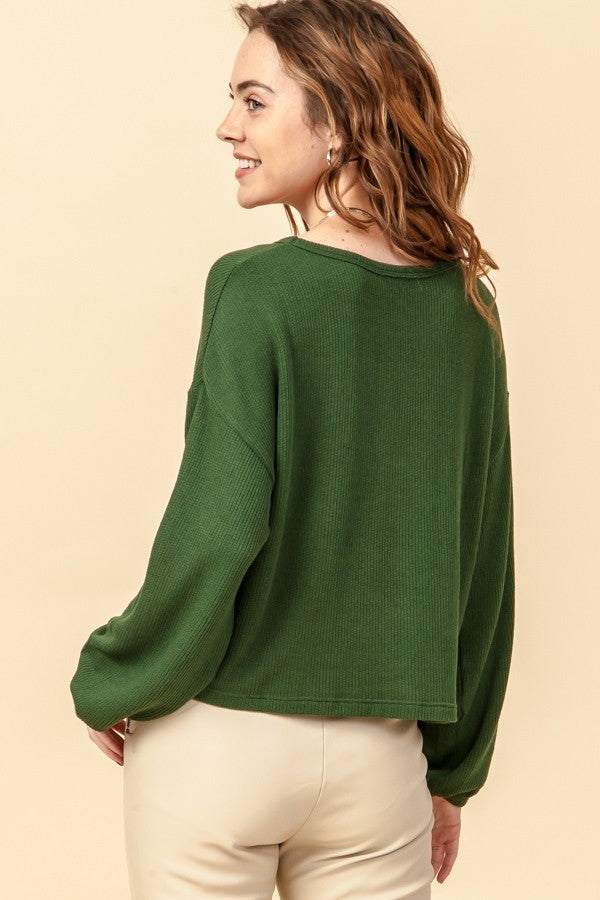 Sleeve It to Me Dark Green Scoop Neck Sweater with Balloon Sleeves