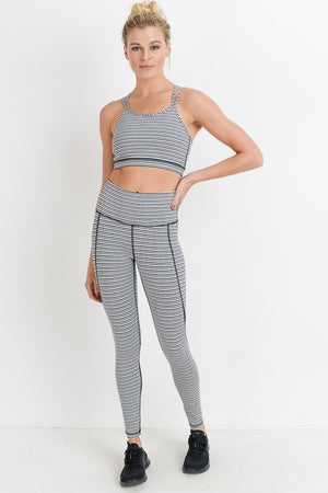 Grey Striped Double Strap Criss Cross Sports Bra