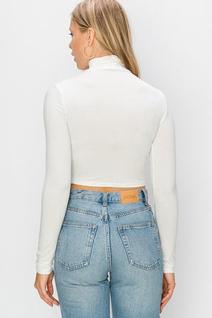 Cover The Basics White Turtleneck Crop Top