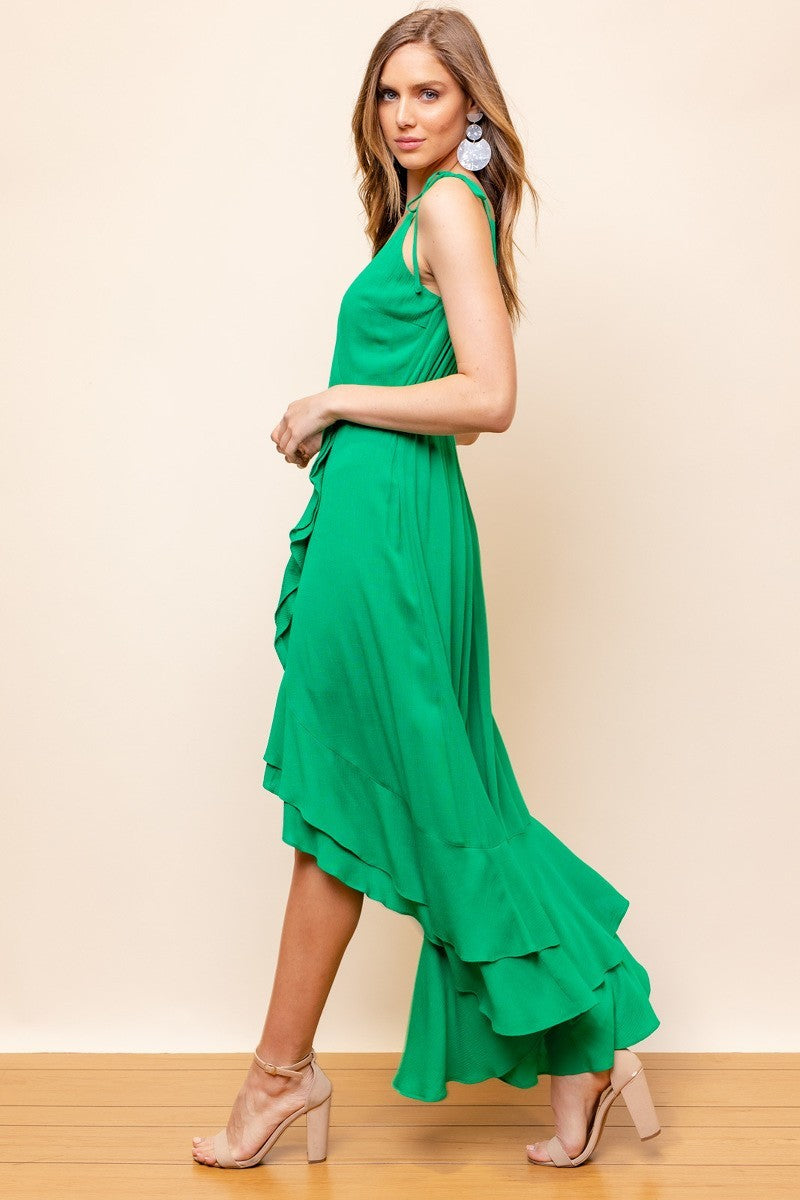 Live for The Frill Kelly Green Faux Wrap Ruffle Hem Maxi Dress with Tie Straps