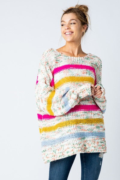 Some Stripe of Way Multicolor Oversized Stripe Sweater