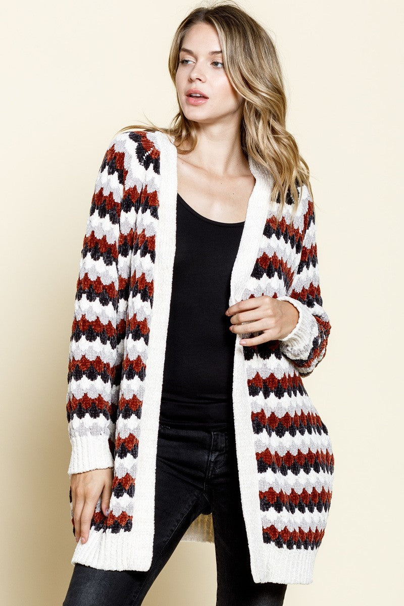 Rust & Charcoal Striped Chenille Cardigan