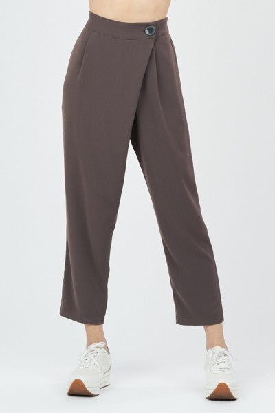 Slate Grey Trouser Pants with Asymmetrical Overlay