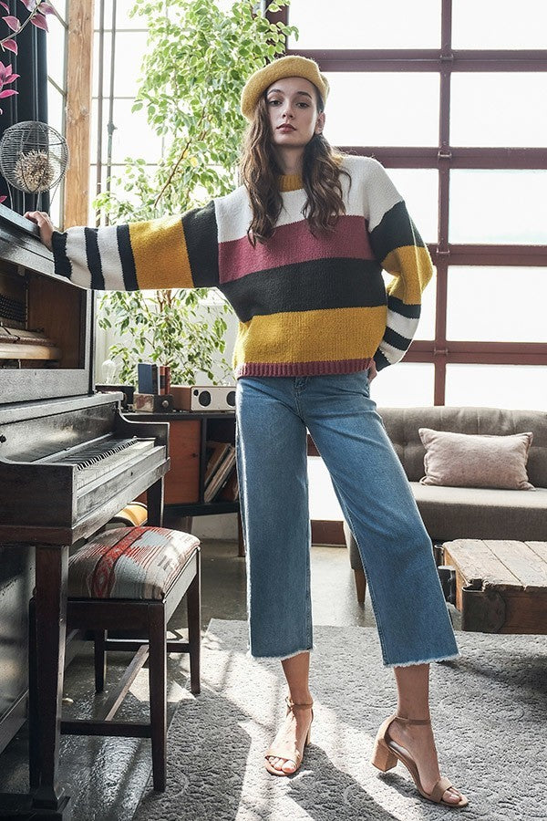 The Stripe Direction Mustard Multicolor Sweater with Puff Sleeves