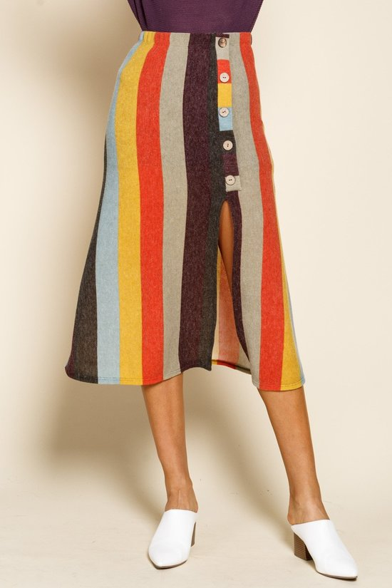 Get it Stripe Rainbow A-Line Midi Skirt with Buttons