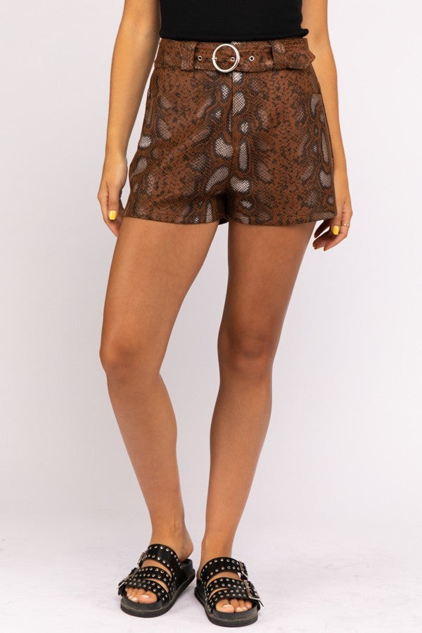 Brown Snakeskin Faux Leather Shorts