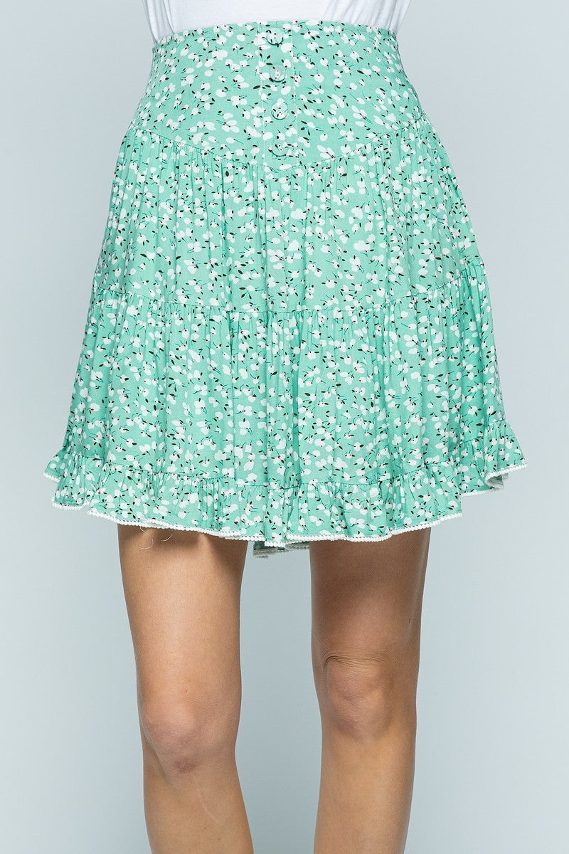 Frill I Found You Mint Green Floral Flowy Mini Skirt