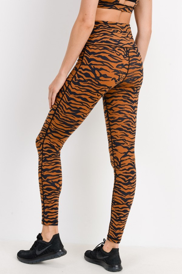 Unleash The Tiger Rust Print High Waisted Workout Leggings