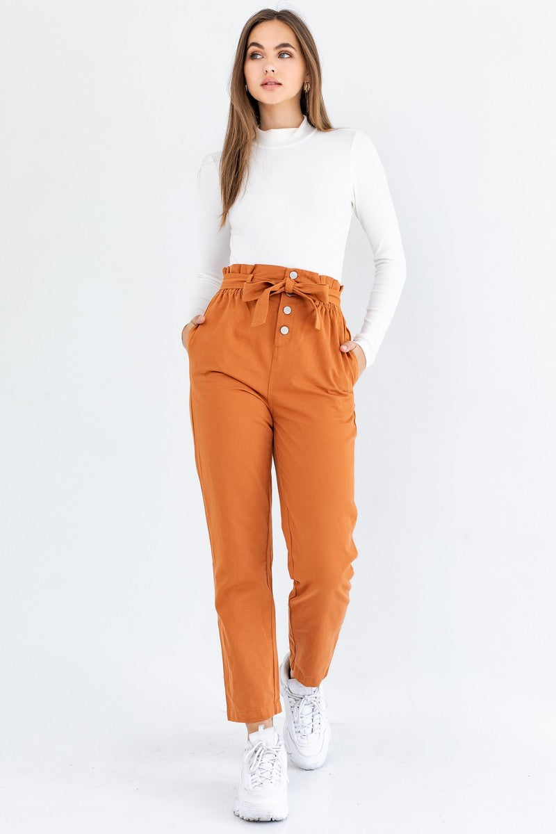 Orange Paper Bag High Waisted Trousers with Tie Belt