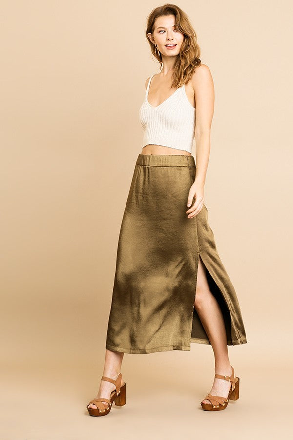 Slip In To Satin Olive Midi Skirt with Side Slit